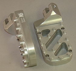 Lowered Wide Foot Pegs, Silver Anodized with Stainless Steel Trakker Tread