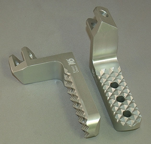 Lowered Wide Motorcycle Foot Pegs, Silver Anodized with Quadtrax Traction Tread