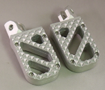 Wide Silver Anodized Motorcycle Foot Pegs with Stainless Steel Hunter Tread