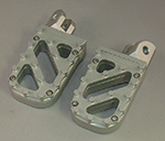 Wide Silver Anodized Motorcycle Foot Pegs with Stainless Steel Trakker Tread