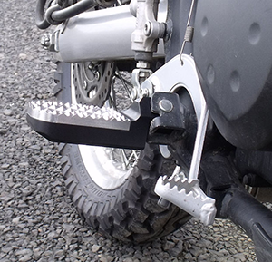 Knight DesignLowered Wide Hunter Tread Foot Pegs on Kawasaki KLR-650 Motorcycle